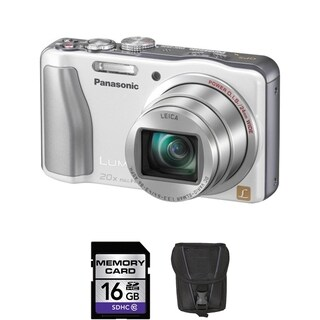 Panasonic Lumix DMC-ZS20 14.1MP White Digital Camera 16GB Bundle