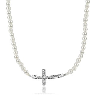 Tressa Collection Sterling Silver Cubic Zirconia Faux Pearl Cross Necklace