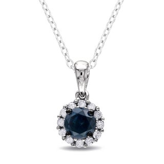 Miadora Silver 1/2ct TDW Blue and White Diamond Halo Necklace (H-I, I2-I3)