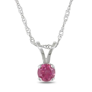 Miadora 14k White Gold 1/4 TDW Pink Diamond Solitaire Necklace