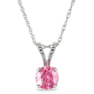 Miadora 14k White Gold 3/4ct TDW Pink Diamond Solitaire Necklace