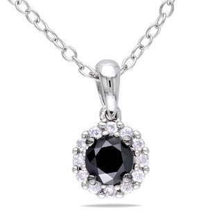 Miadora Sterling Silver 1/2ct TDW Black and White Diamond Necklace (H-I, I2-I3)