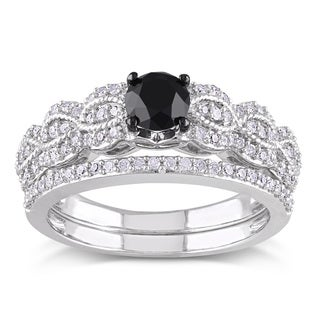 Miadora Sterling Silver 1ct TDW Black and White Diamond Bridal Ring Set (H-I, I2-I3) with Bonus Earrings