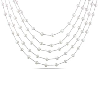 Miadora Sterling Silver White Pearl 5-strand Necklace (4-5 mm)