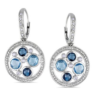 Miadora Sterling Silver Blue and White Topaz and Diamond Circle Earrings (H-I, I2-I3)