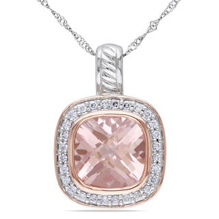 Miadora Silver and 14k Rose Gold Morganite and 1/4ct Diamond Necklace (G-H, SI1-SI2)
