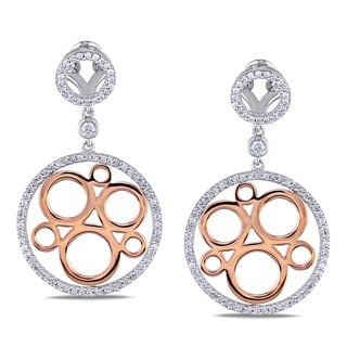 Miadora 14k Two-tone Gold 7/8ct TDW Diamond Circle Dangle Earrings (H-I, I1-I2)