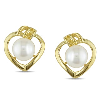 Miadora 10k Yellow Gold White Cultured Freshwater Pearl Heart Earrings (5-5.5 mm)