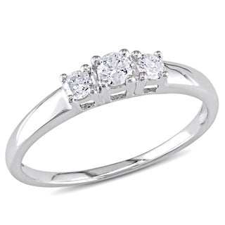 Miadora 10k White Gold 1/4ct Round Diamond Three Stone Ring (H-I, I2-I3)