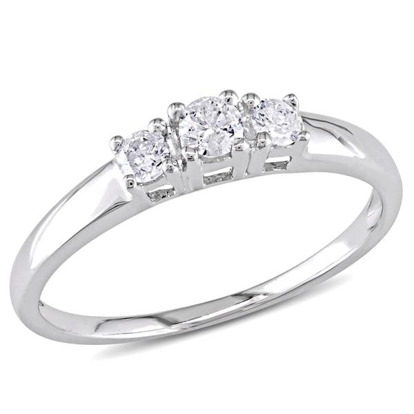 Miadora 10k White Gold 1/4ct Round Diamond Three Stone Ring (H-I, I2-I3)