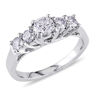 Miadora 14k White Gold 7/8ct TDW Diamond Engagement Ring (G-H, I1-I2)