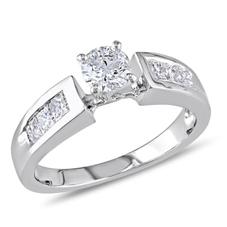 Miadora 18k White Gold 3/4ct TDW Diamond Engagement Ring (H-I, I1-I2)