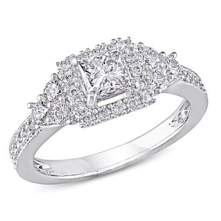 Miadora 14k White Gold 1ct TDW Princess-cut Diamond Engagement Ring (G-H, I1-I2)