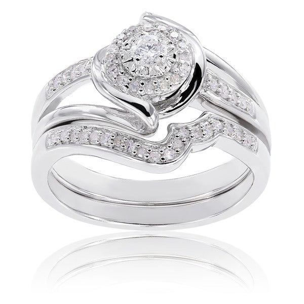 Sterling Silver 1/4ct TDW Diamond Halo Twist Split Shank Bridal Ring Set by Miadora