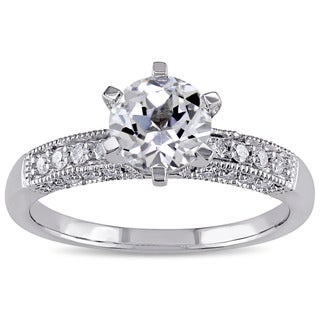 Miadora 10k White Gold Created White Sapphire and 1/4ct TDW Diamond Vintage Engagement Ring (G-H, I2-I3)