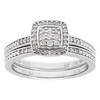 Haylee Jewels Sterling Silver 1/4ct TDW Diamond Bridal Ring Set (H-I, I2-I3)