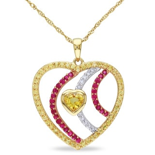 Miadora 14k Tri-color Gold Sapphire and 1/10ct TDW Diamond Heart Necklace (G-H, SI1-SI2)