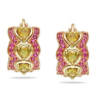 Miadora 14k Two-tone Gold Yellow and Pink Sapphire Huggie Earrings