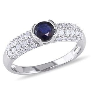 Miadora 14k White Gold Sapphire and 1/2ct TDW Diamond Ring (H-I, I2-I3)