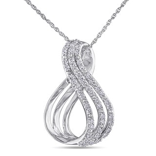 Miadora 10k White Gold 1/4ct TDW Diamond Infinity Necklace (H-I, I2-I3)