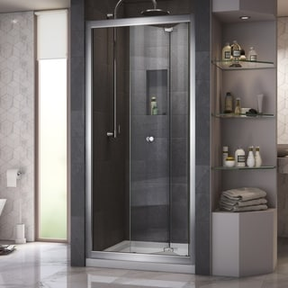 DreamLine Butterfly Frameless Bi-Fold Shower Door and SlimLine 36 x 36-inch Single Threshold Shower Base