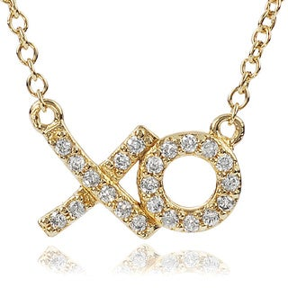 Journee Collection Sterling Silver Cubic Zirconia 'xo' Necklace