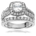 Tressa Collection Women's Sterling Silver CZ Bridal Style Ring Set