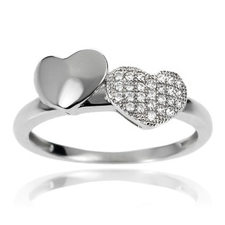 Journee Collection Sterling Silver White Cubic Zirconia Double Heart Ring