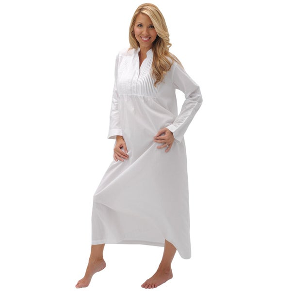 Del Rossa Women's Guinevere White Cotton Nightgown