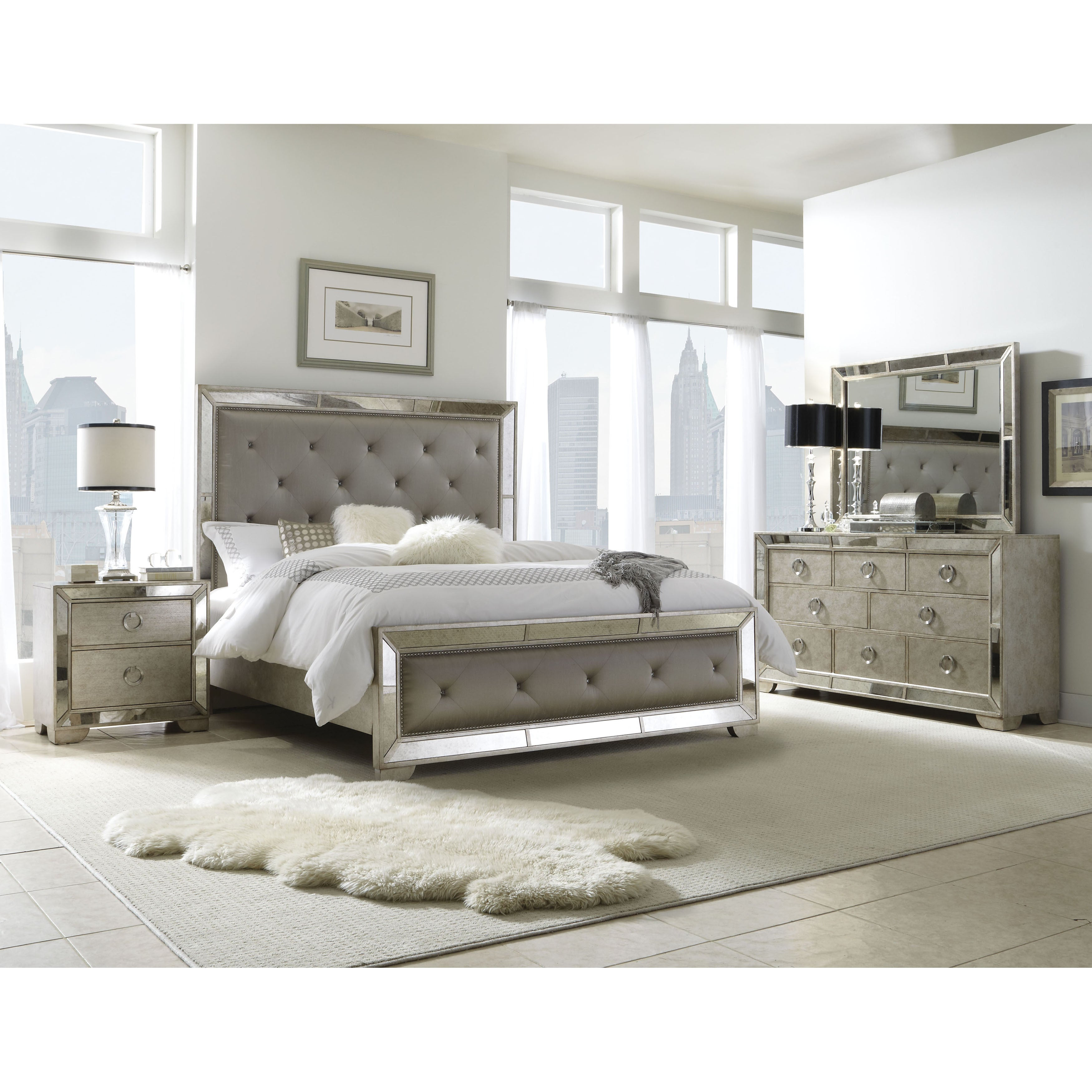 Celine 5 piece Mirrored and Upholstered Tufted Queen size Bedroom Set Overs