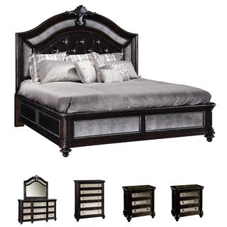Chloe 6-piece Mirrored and Tufted Leather King-size Bedroom Set