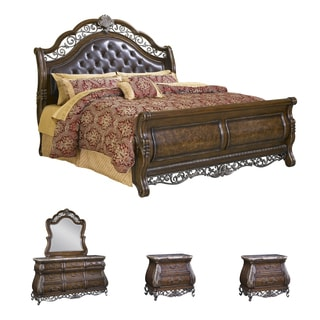 Bella 5-piece Chestnut Finish Tufted Leather King-size Bedroom Set