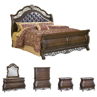 Bella 6-piece Chestnut Finish Tufted Leather King-size Bedroom Set