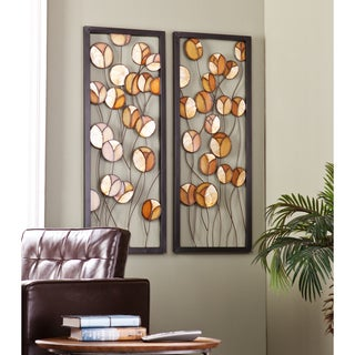 Upton Home Sloan Abstract Metal/Capiz Wall Panel 2pc Set