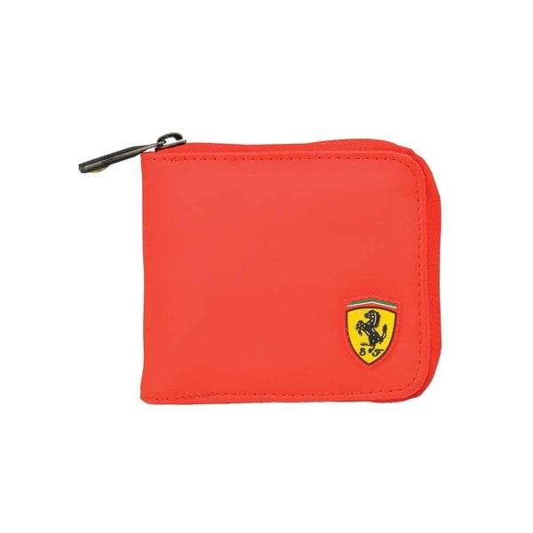 Ferrari Red Logo Inlay Zip-around Wallet