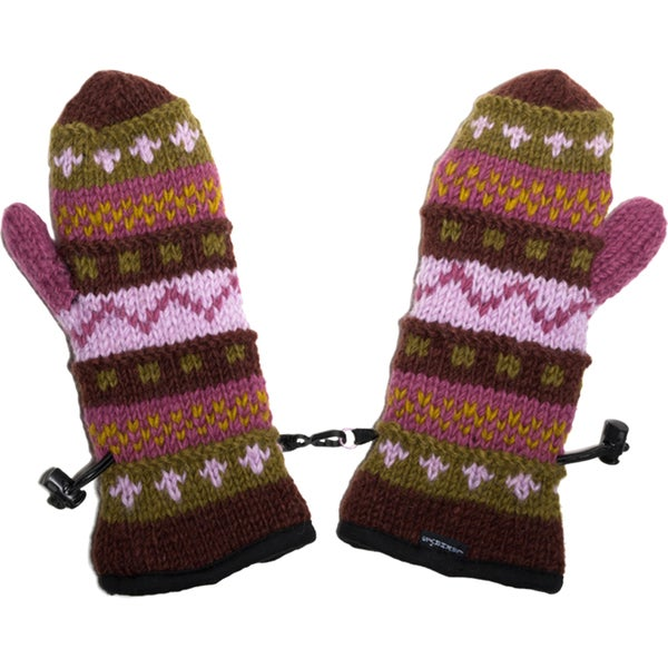 Hand-knitted Winter Multicolored Mittens (Nepal)