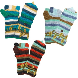 Winter Leaves Flip-top Mittens (Nepal)