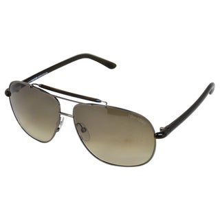 Tom Ford Men's 'FT0243/S Adrian' Gunmetal/ Black Aviator Sunglasses