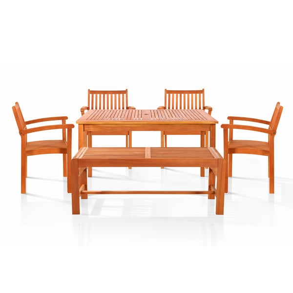 Bonsi Dining Set with Rectangulate Table, 2-Seater Bench and 4 Armchairs
