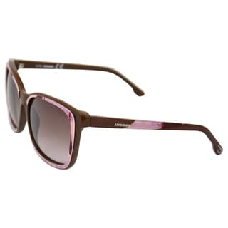 Diesel Women's 'DL0008 Acetate 59F' Brown/ Lilac Sunglasses
