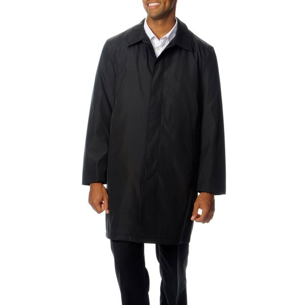 Perry Ellis Portfolio Men's Button-front Poly-bonded Raincoat