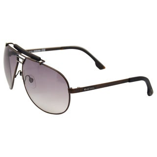 Diesel 'DL0027/S Metal 49B' Matte Brown Aviator Sunglasses