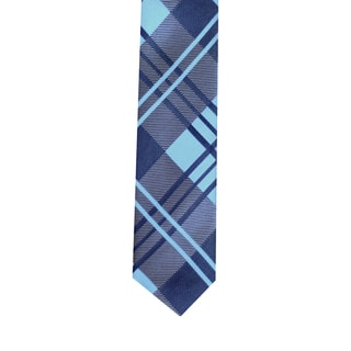 Skinny Tie Madness Men's Blue Plaid-Patterned Skinny Tie