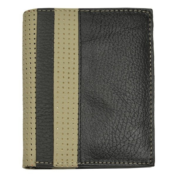 Men's Black/Gray Leather Bi-Fold Wallet - 113 mm Long x 90 mm Wide x 20 mm Deep