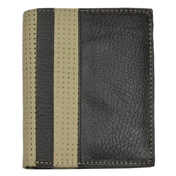 Men's Black/Gray Leather Bi-Fold Wallet - 113 mm Long x 90 mm Wide x 20 mm Deep