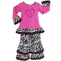 AnnLoren Girls 2-piece Crazy Hearts Zebra Outfit