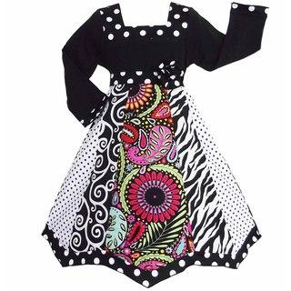 AnnLoren Girls Floral/ Zebra Panel Party Dress