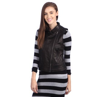 United Face Womens Leather Moto Vest
