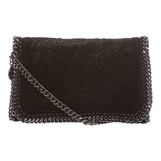 Stella McCartney Black Snake-embossed Velvet Crossbody Bag
