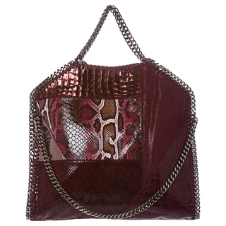 Stella McCartney 'Falabella' Small Plum Patchwork Fold-over Tote